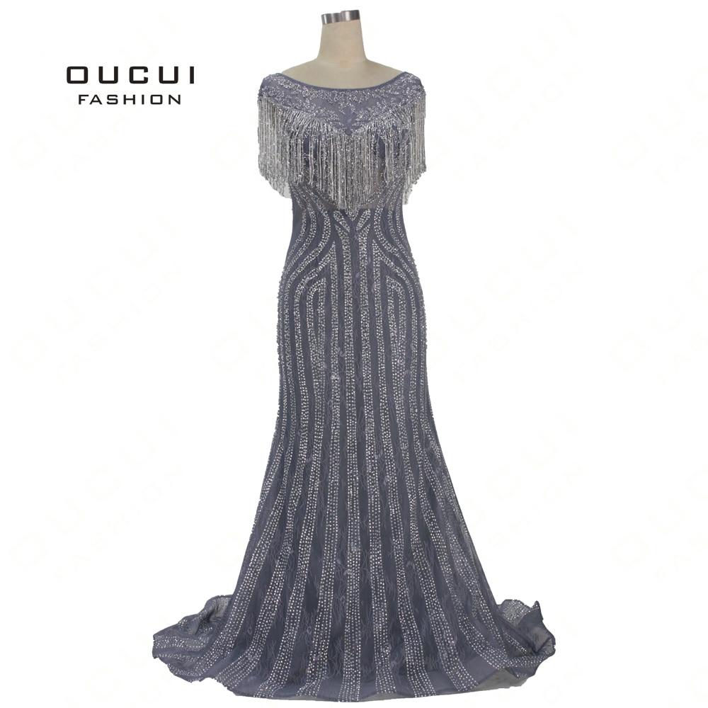 Oucui Mermaid   Dress   2019 Scoop Grey Tulle Luxury Crystal Tassel Handmade Craft   Evening     Dresses   Formal Gown For Ladies OL103351