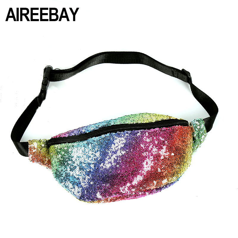 AIREEBAY Fashion Sequin Fanny Pack Female Rainbow Color Belt Bum Bag Waist Packs 2018 New Design Glitter Women Pouch Hip Purse clear wood handle bag with sequin pouch