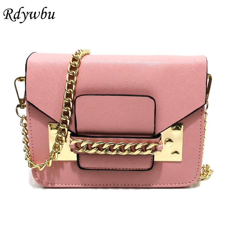 Rdywbu WOMEN'S MINI CHAIN MESSENGER BAG - New Fashion PU Leather Envelope Flap Crossbody Messenger Handbag Designer Bolsas SJ86 rdywbu candy color rivet chain shoulder bag women new pearl pu leather flap handbag girls fashion crossbody messenger bag b430
