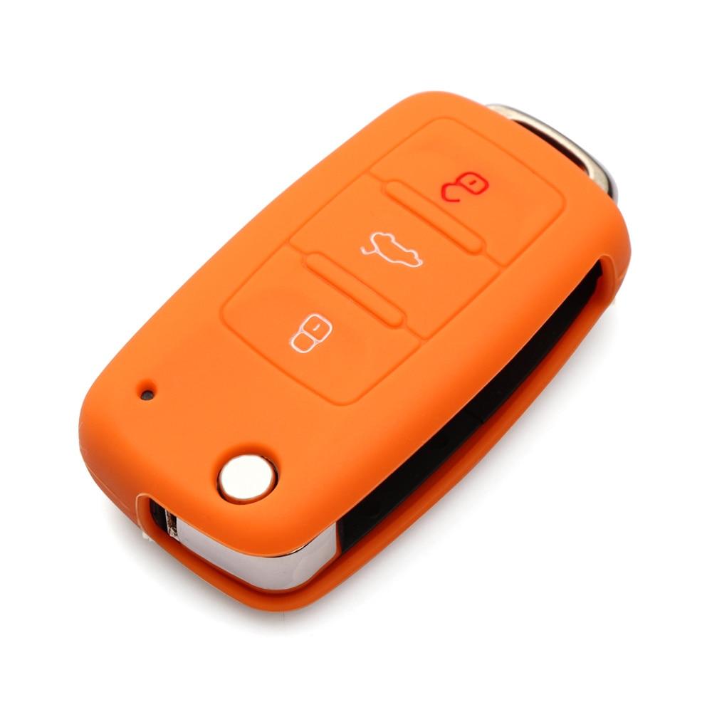 Силиконовый чехол для ключей автомобиля для Volkswagen polo passat golf 5 6 jetta tiguan Gol CrossFox Plus Eos Scirocco Beetle, автомобильный Стайлинг - Название цвета: Оранжевый