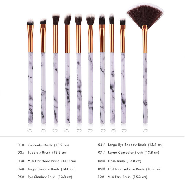 10pcsPromotions marbling texture brushes face foundation powder eyeshadow kabuki eye blending cosmetic marble makeup brush tool 5