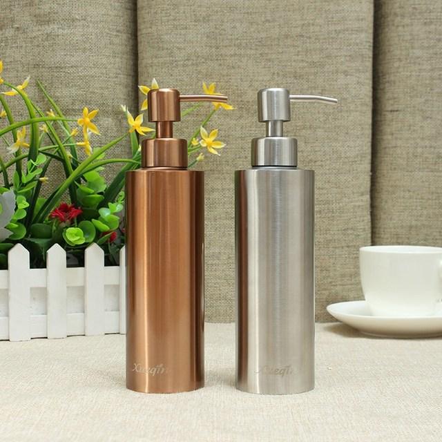 350ML Stainless Steel Silver/Gold Kitchen Bathroom Hand Pump Liquid Soap  Dispenser Lotion Detergent Bottle