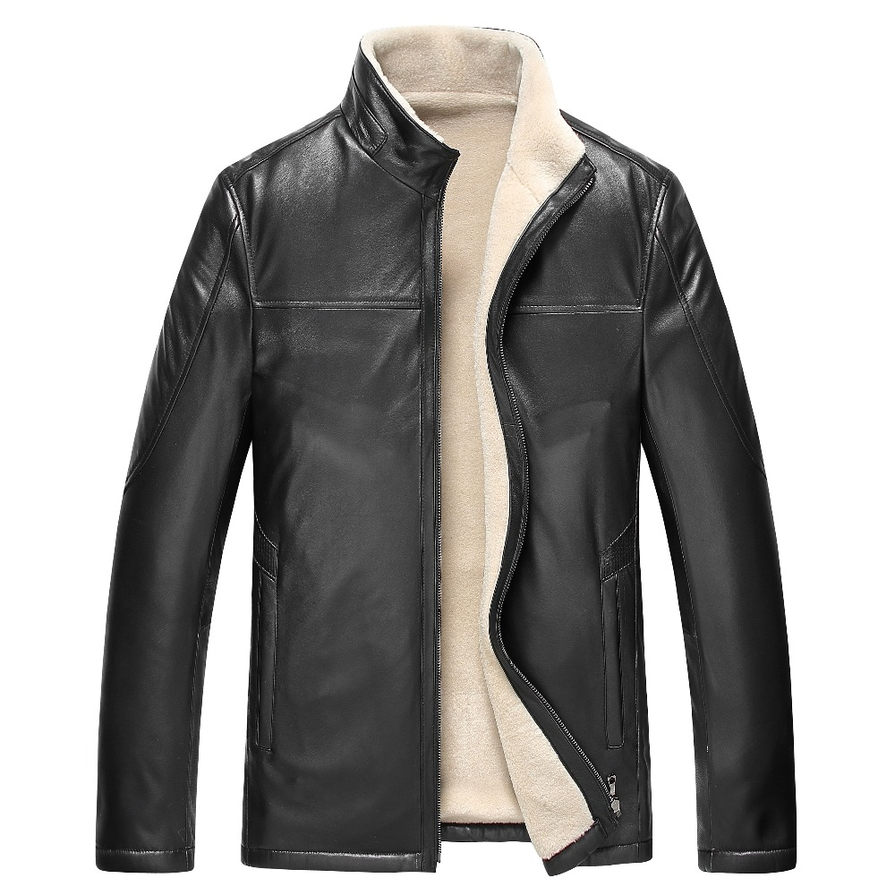 Free Shipping Hot Sale Winter Thick Leather Garment Casual wool flocking Leather Jacket Men's Clothing Leather Jacket Men