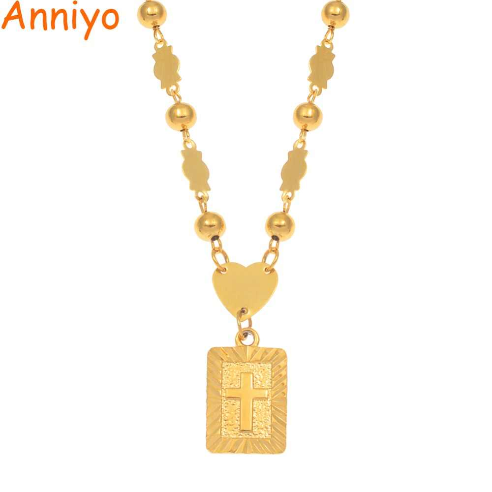 Anniyo Marshall Cross Pendant Ball Beads Necklaces for Hawaii Women Gold Color Melanesia Guam Micronesia Jewelry #087506P