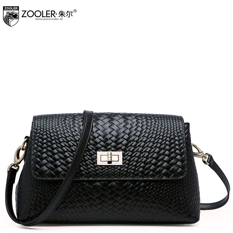 ZOOLER Brand Knitting Genuine Leather Bag Ladies Fashion Leisure Small Woven Shoulder Bags for Women Crossbody Messenger Bag zooler brand genuine leather shoulder bags for women casual messenger bag ladies small cowhide leather crossbody bags sac a main