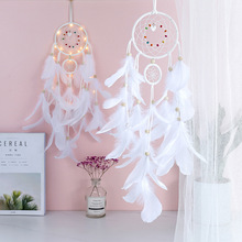 White feather two- ring Dreamcatcher pendant hand made gifts for students wedding decoration birthday