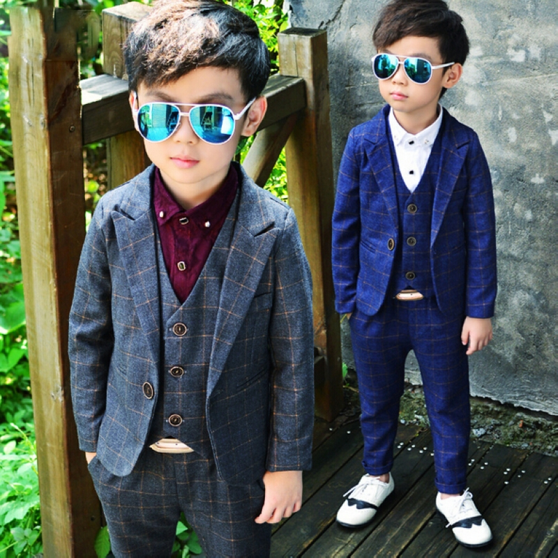 Kids spring formal clothes set children boys three-piece suit cool pant+vest+coat performance wear Western style hot style three points children quilted loose coat