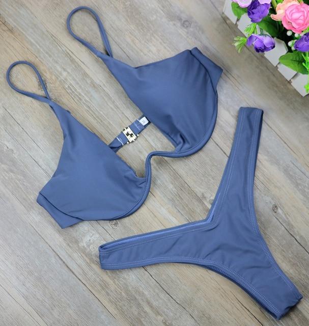 2019 New high cut thong bathing suit high waist swimsuit Solid swimwear women Brazilian Biquini swim beach micro bikini set 2