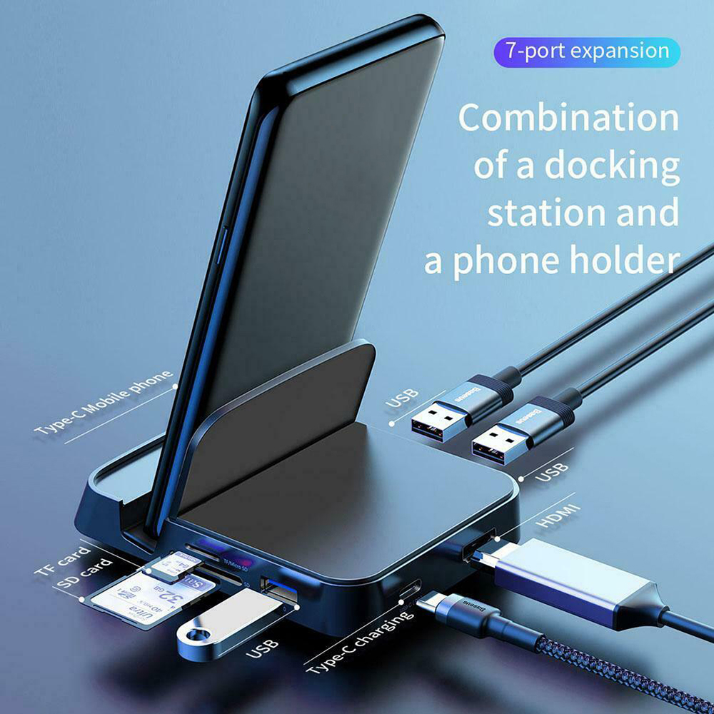 7 In 1 Type C To HDMI USB 3.0 HUB Docking Station Phone Stand  Adapter Charger For HUAWEI Xiaomi Samsung Computer Accessories