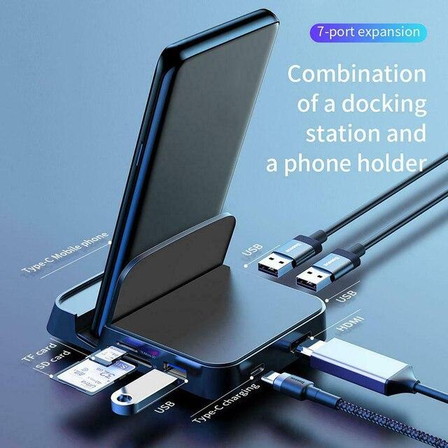 Kit de Adaptador 7 en 1, Cargador USB tipo C, estación de acoplamiento, soporte para teléfono móvil, USB C a HDMI para HUAWEI, Xiaomi, Samsung y LG