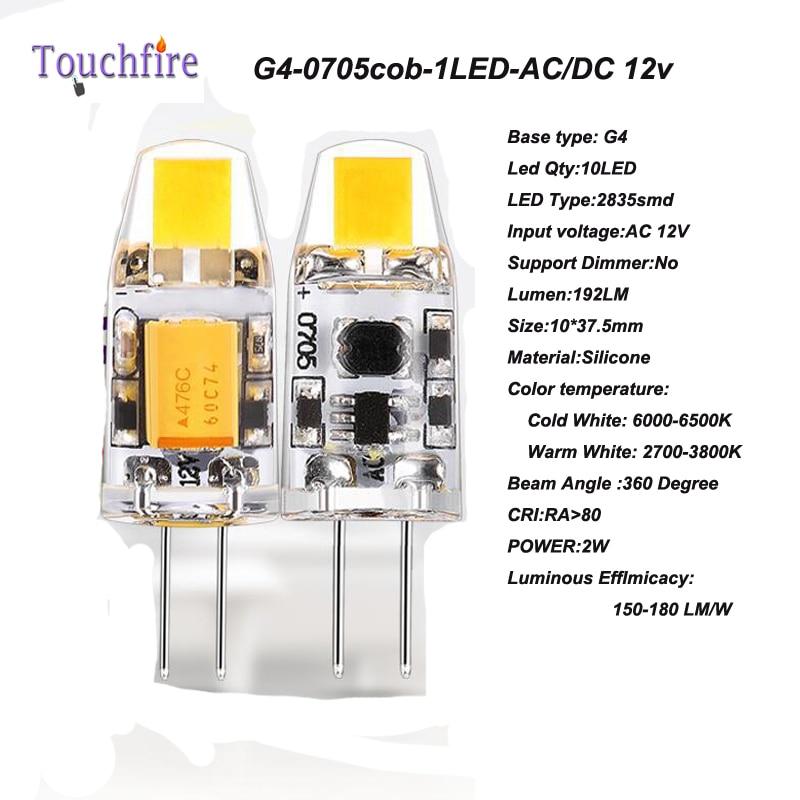 10pcs G4 LED 0705 COB Bulb Tubes Corn Lamp 1.5w AC 12V White/Warm Light 360 Beam Angle replace Halogen Spotlight Chandelier