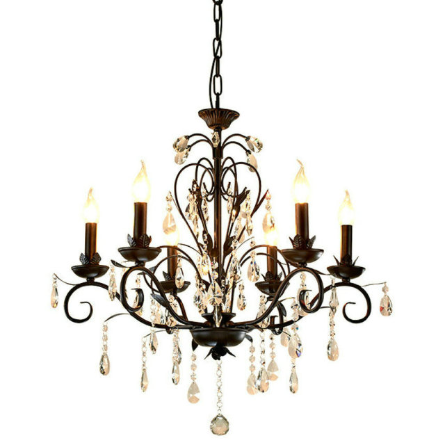 Chandelier Lighting Vintage Rustic Wrought Iron Chandelier Wedding Decoration Black Led Crystal Chandeliers 6 8 Lights E14 Led