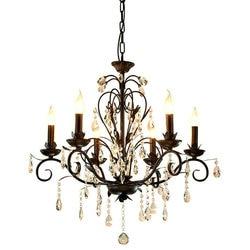 Oświetlenie żyrandol w stylu Vintage rustykalnym kutego żelazny żyrandol dekoracje ślubne czarny Led kryształowe żyrandole 6 8 światła E14 Led w Żyrandole od Lampy i oświetlenie na