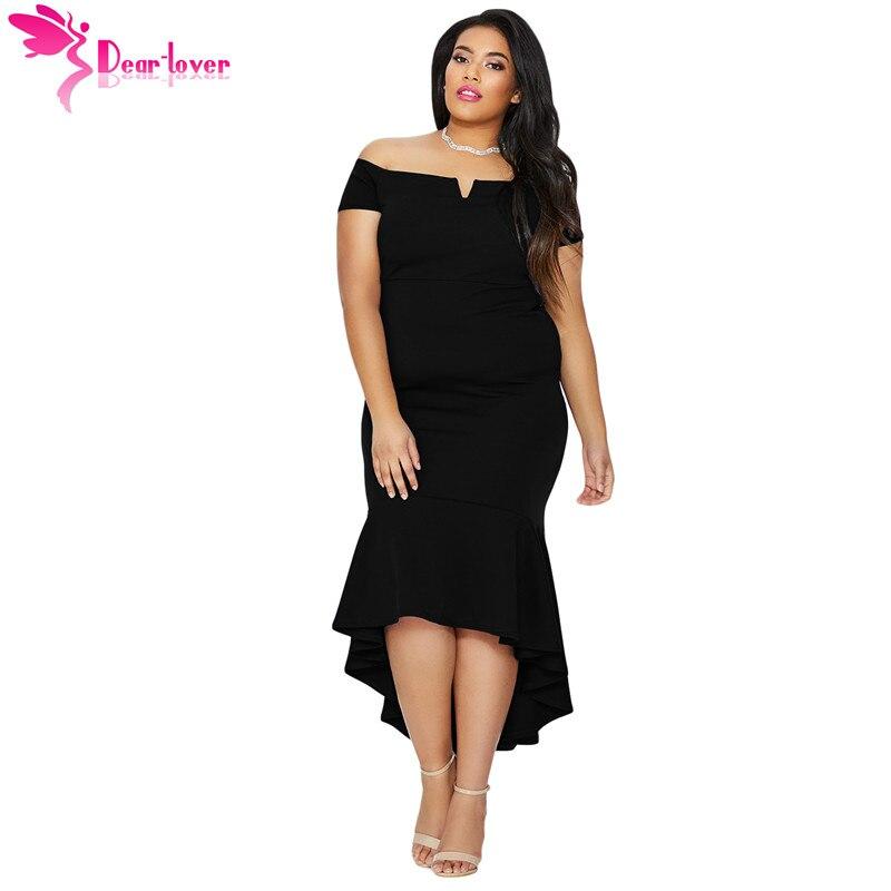 6f70fff85f2d9 Dear Lover Summer Plus Size Sexy Off Shoulder Party Vestidos Asymmetrical  Black Navy Blue Dip Hem Fishtail Midi Dress LC610341