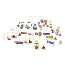 56 шт. уличные знаки Playset-дорожные знаки фигурка модель для детей ролевые игры автомобиль игрушка