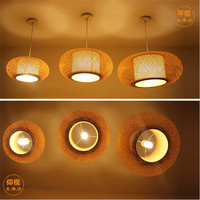 bamboo weaving droplight Rural restaurant hotel bedroom balcony Chinese lanterns Lamps and lanterns of couch couch rice