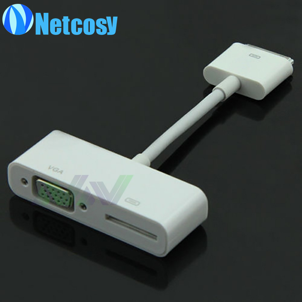 30 pin to VGA Adapter Converter Cable with Charging port for iPad 2 3 and for iPhone 4s retail sale
