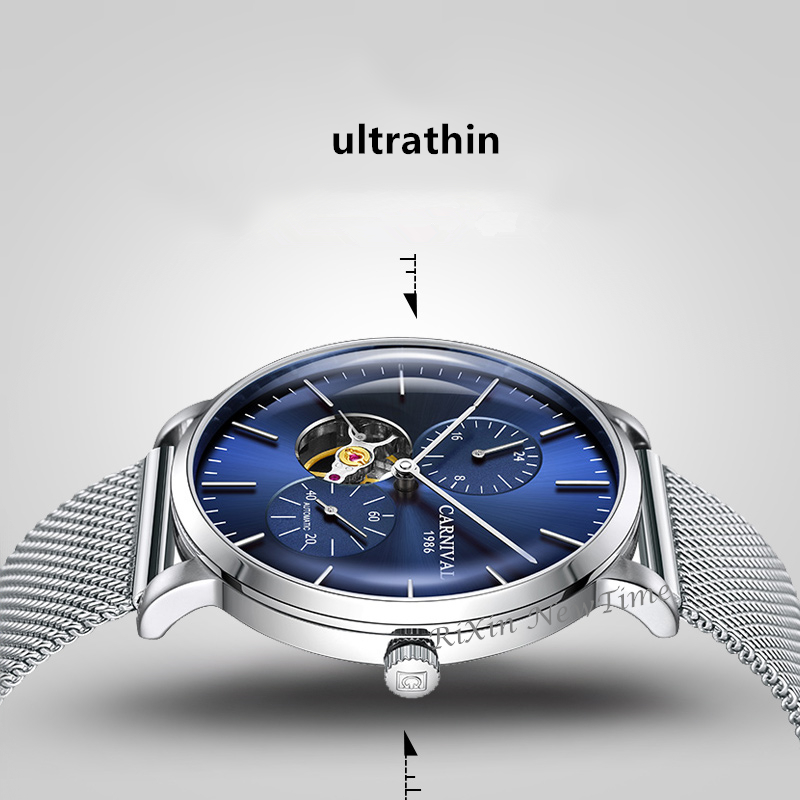 Carnaval ultra-mince tourbillon auto montres mécaniques hommes marque de luxe en acier complet étanche hommes montre horloges relogio kol saati - 4