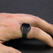 Black Ring for Men Light weight 6g Real 925 Sterling Silver