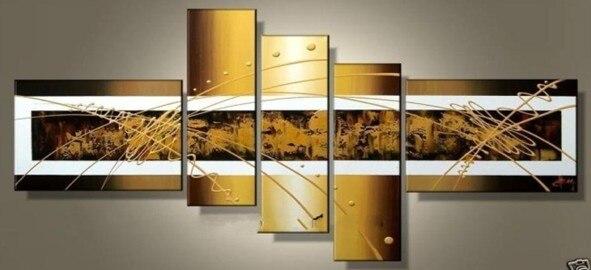 Dipinto a mano 5 pezzo giallo nero per soggiorno quadri moderni ...