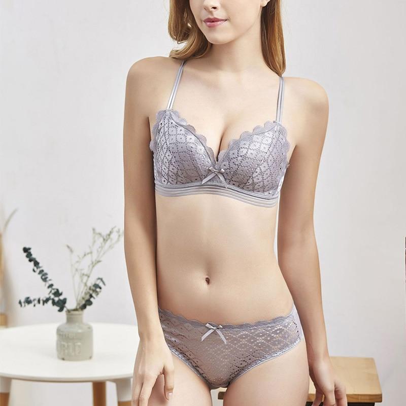 New Brands Sexy Underwear Set Women Thin Cotton Lace Bra Lingerie Sets Comfortable Brassiere Gray Push Up Female Bra Sets