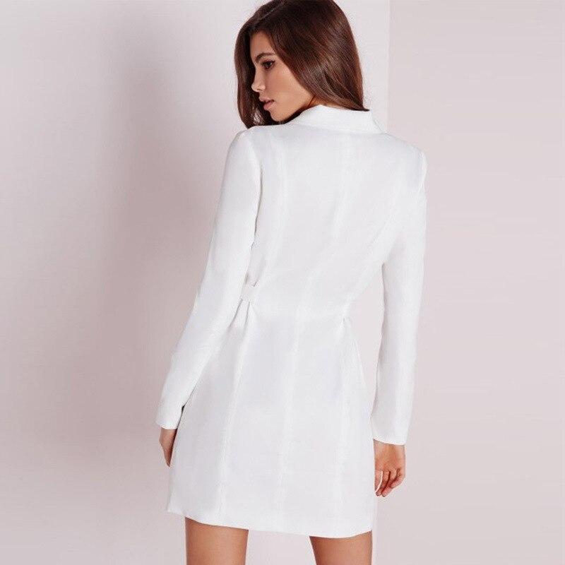 Automne Noir Costumes bai Solide Col Femmes Douille Veste Long Robe Blazer Bandage Élégant 2018 Pleine Slim En Vacances Manteau V Hei UnwR8T