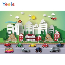 Yeele Clouds Sun Buildings Cars City Trees Cartoon Photography Backgrounds Photographic Customized Backdrops for Photo Studio
