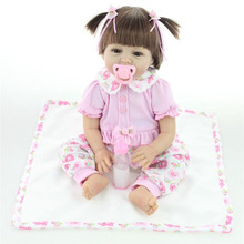 22″ Silicone Realistic Reborn Baby Pink Pigtails Girl Alive Doll Look Real Gifts for Kids Playhouse Toys Collects