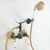 Black & gOLD Brass Shower Faucets Set Wall Mounted Bath Shower Faucets Mixer Tap With Hand Sprayer Shower Head Kna564