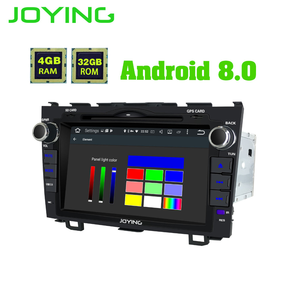 JOYING dernières 2din autoradio HD 8 pouce écran tactile LCD Android 8.0 4 gb Ram PX5 Octa Core Bluetooth GPS pour Honda CRV 2007-2012