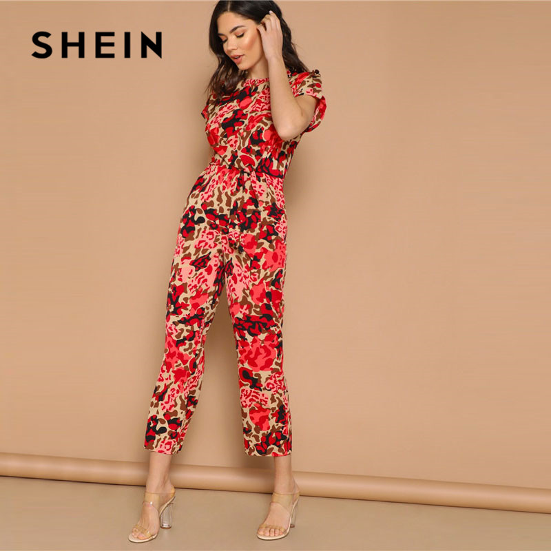 SHEIN Lady Highstreet Rolled Up Sleeve Knot Front Leopard Print Jumpsuit Women Summer High Waist Casual Tapered Jumpsuit