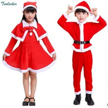 Red Boys Girls Christmas Costumes For Kids Flannel Carnival Costume Girl Boy New Years Children Clothing 3-10Yr