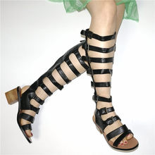 NAYIDUYUN  Women Chunky High Heels Knee Gladiator Sandals Open Toe Buckle Strappy Summer Party Pumps Shoes Casual