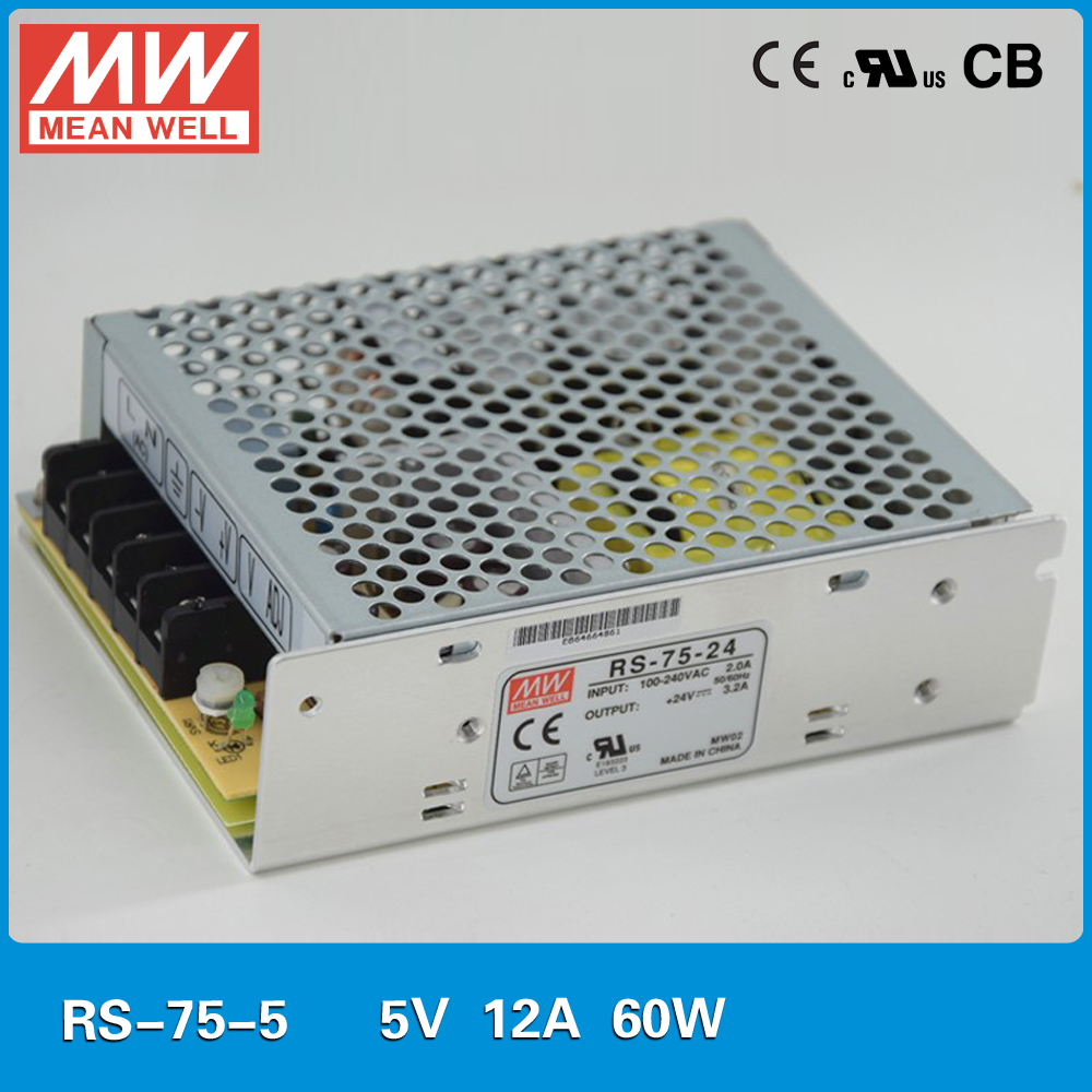Original Mean Well RS-75-5 single output 12A 60W 5V Power Supply UL TUV CB EMC CE approved 110/220VAC to 5VDC power supply original meanwell dr 15 5 12w 5v 2 4a industrial din rail mounted power supply ul tuv cb emc ce