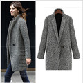 New Winter Warm Trench Coat Women Fashion Turn Down Collar Single Button Thicken Long Knitted Outerwear W1042C