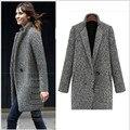Nuevo Caliente Del Invierno Trench Coat Mujeres Moda Turn Down Collar Solo Botón Espesar Largo de Punto prendas de Vestir Exteriores W1042C