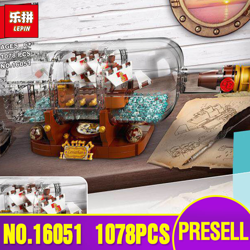 Lepin 16051 New Toys 1078Pcs Movie Series The 21313 Ship in a Bottle Set Building Blocks Bricks Funny Toys Kid Birthday Gifts lepin 16018 genuine the lord of rings series the ghost pirate ship set building block brick funny toys 79008