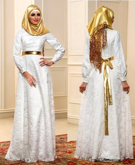 Muslim Long Sleeve Wedding Dresses 2016 A Line Lace Zipper Vintage Bridal  Dress Online Shop