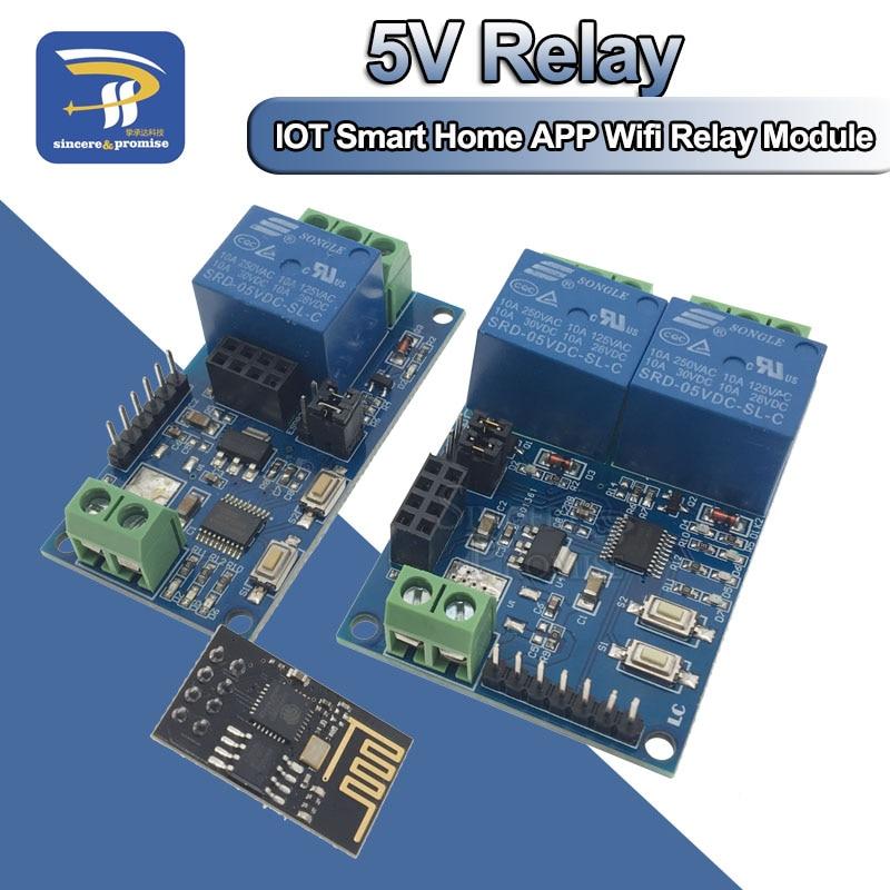 Реле канала Wi-Fi 5 в ESP8266, 1, модуль реле канала ESP-01, двусторонний релейный модуль для IOT Smart Home, переключатель дистанционного управления для телефона