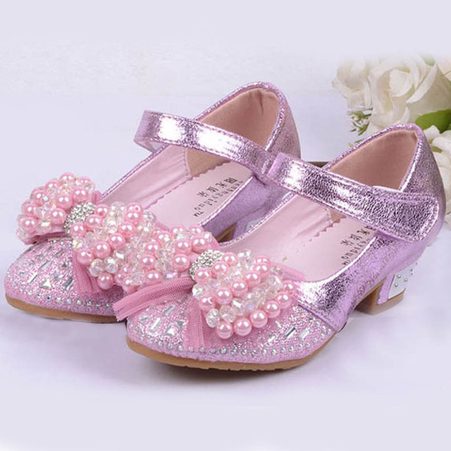 2017 Pearls Kids Girls High Heels Shoes Kids Princess Party Shoes High-heeled Beading Flower Girls Latin Dance Shoes Wedding