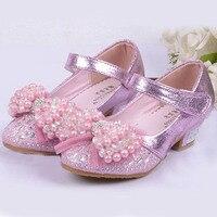 2016 Pearls Kids Girls High Heels Shoes Kids Princess Party Shoes High Heeled Beading Flower Girls