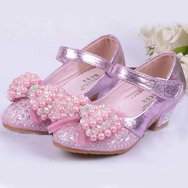 2017 pérolas crianças meninas sapatos de salto alto shoes crianças princesa partido shoes high-salto alto beading flor meninas dança latina shoes casamento