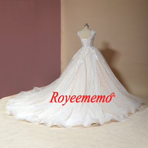 Image 3 - Свадебное платье с рукавом крылышком, блестящее Роскошное винтажное свадебное платье