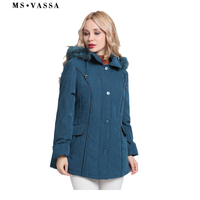 MS VASSA Jacket Women 2017 New Winter Coats Plus size 5XL 6XL detachable hood with fake fur turn down collar ladies outerwear