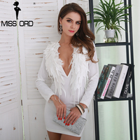 Missord 2017 Sexy Deep V Long Sleeve Stereo Feather Wings Women Elegant White Dress FT8563