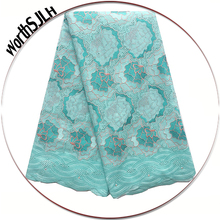Best Selling 2018 Products Cotton African Lace Fabric Aqua Cream Swiss Voile Dubai Latest With Stones