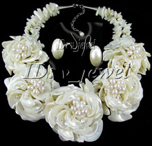 LL<<<Shell pearl Pearl flower necklace/earring set AAA style Fine Noble real Natural(China)