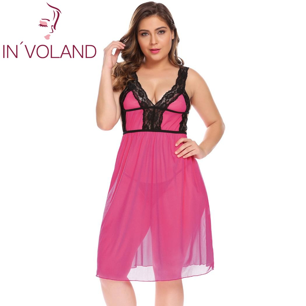 631edb9a14 Home   IN VOLAND Plus Size XL-5XL Women Nightgowns Dress Sexy Sleepshirts Lingerie  Nightdress Chemise Sheer Babydoll Set with G-String. Previous. Next