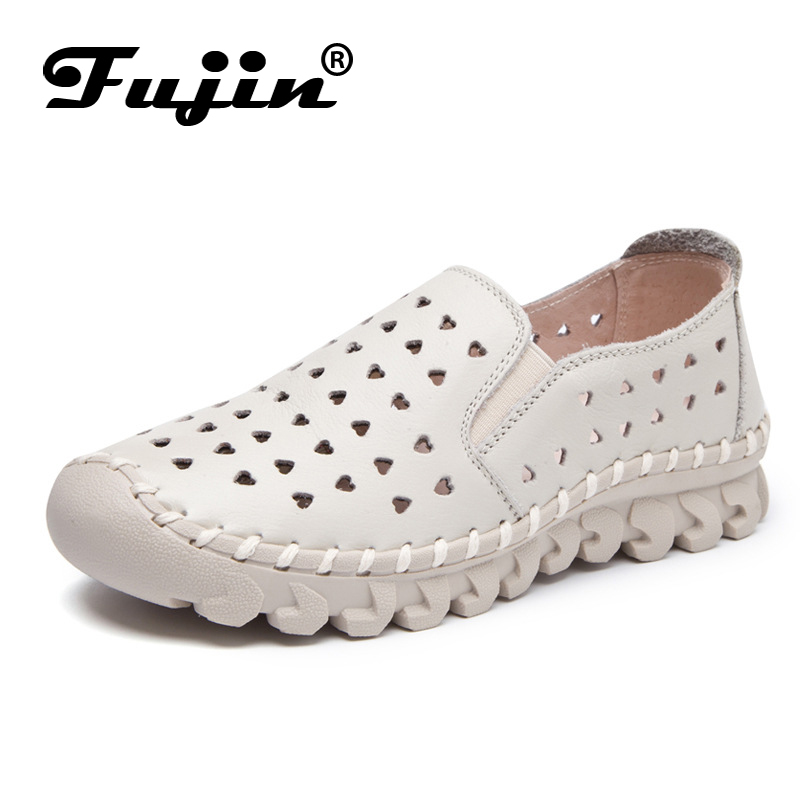 Fujin brand 2019 new breathable soft women flats genuine leather lady loafers slip on women shoes