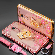 "Фотография Rhinestone cover case For Xiaomi Redmi Note 4 Hongmi Note 4 5.5"" fashion diamond finger ring phone cases shell & stand & Rope"